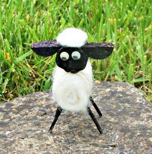 cork sheep on rock
