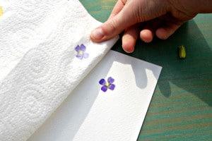 hammered flower prints - carefully peel back towel