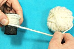 wind wool around cork