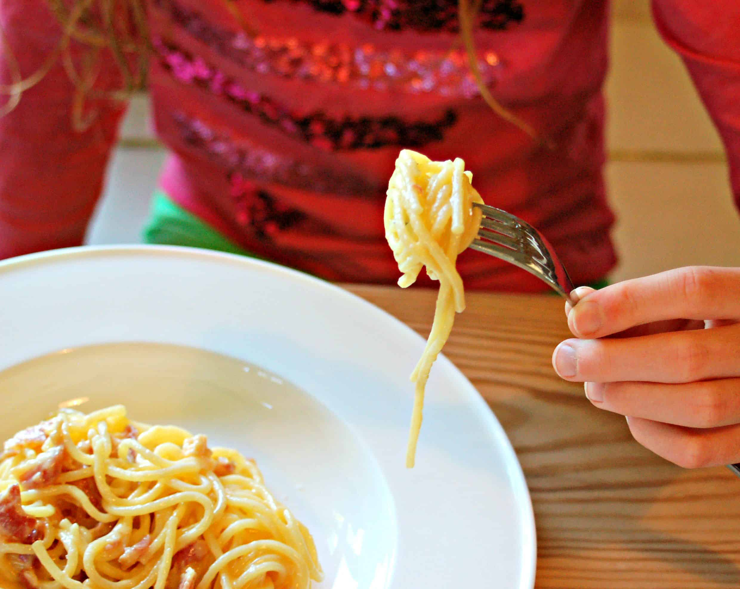 'Everyone loves it Spaghetti', or our egg and bacon spaghetti recipe is the one meal that every visiting child has eaten without complaint.