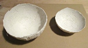 Modroc Christmas Bowls - dry and unpainted