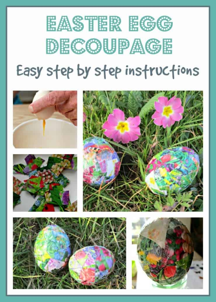 Easter Egg Decoupage on blown eggs using pages torn from magazines and glue. Easy, fun craft activity for all the family.