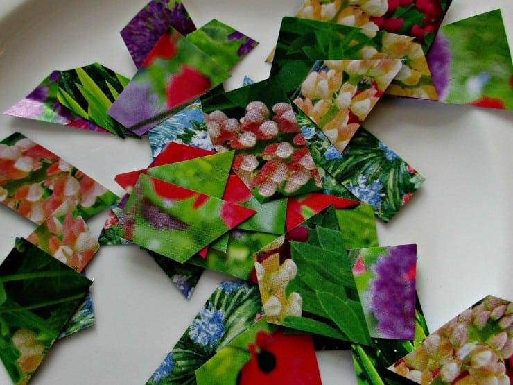 Easter Egg Decoupage - cut paper into little peices