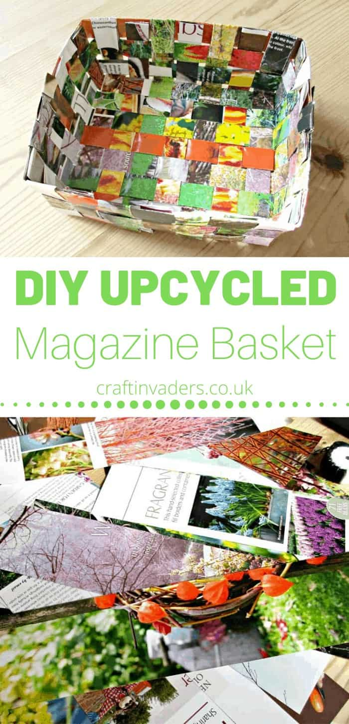 There are a few different ways you can make recycled magazine baskets out of old magazines. This basket weave design is probably the simplest and quickest.