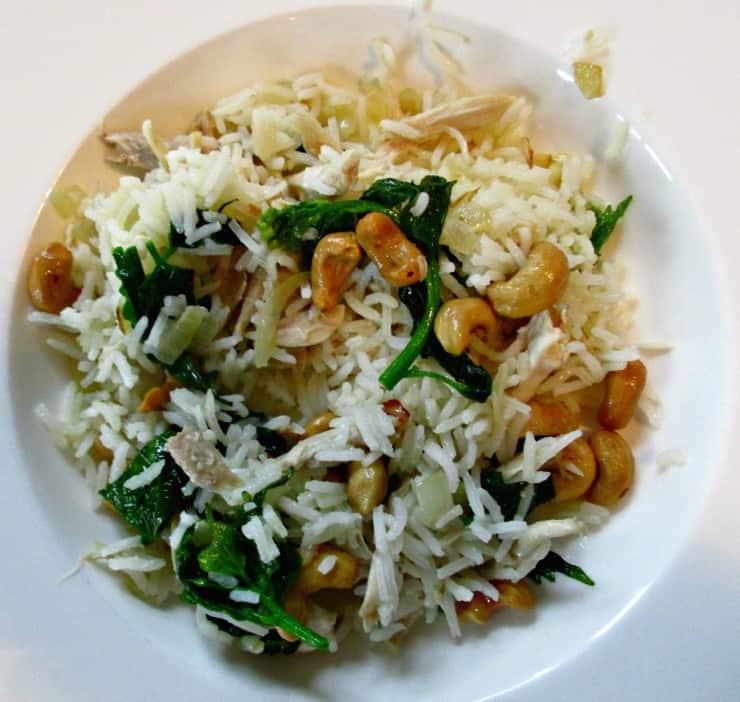 Chicken and rice with foraged garlic mustard