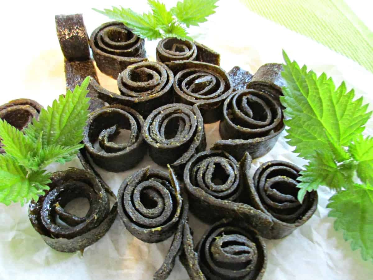 This is our own original recipe for nettle fruit leather. The nettles pair perfectly with the apple and pear and the kids absolutely love this healthy snack