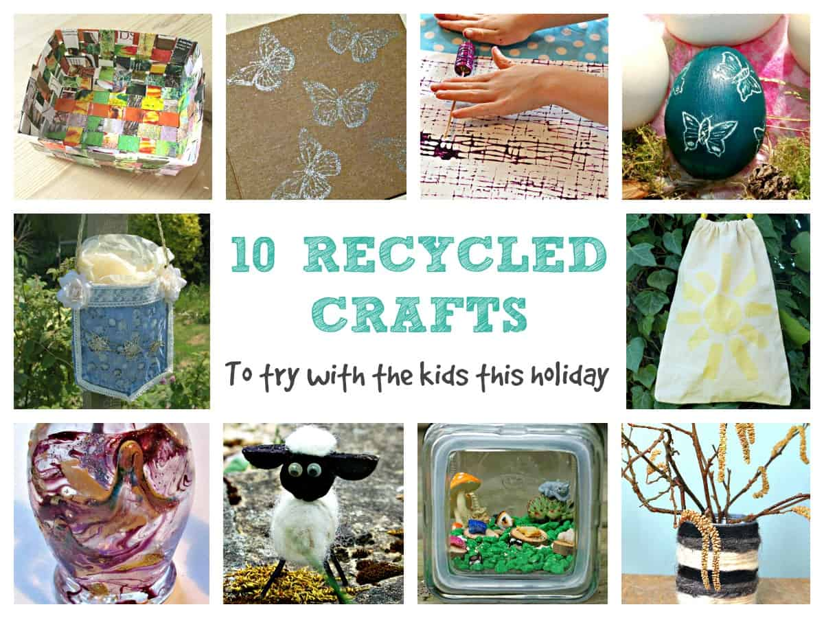 Here are 10 easy, recycling based crafts that you can do with things from around the house. to help keep kids entertained.