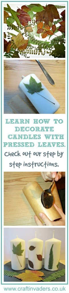 Learn how to decorate candles with pressed leaves, a lovely fall craft to do with the kids