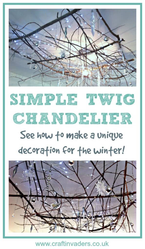 Our Twig Chandelier makes a beautiful ceiling Winter and Christmas Rustic Decoration. Check out our video to see exactly how we made it!