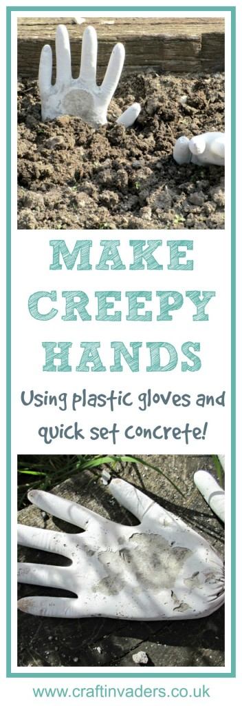 We make our own creepy hand sculptures using disposable gloves and quick set concrete - Click through to see our full tutorial