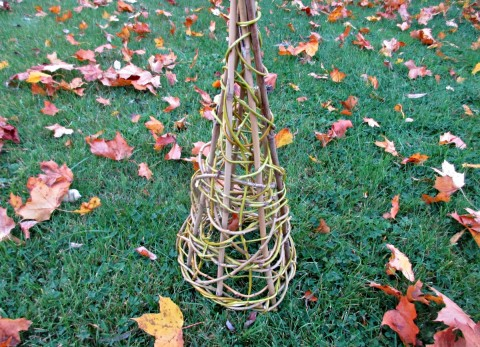 This willow cone is simple to make and could be used as a base for all sorts of crafts as well as making a wonderful, rustic plant support for the garden.