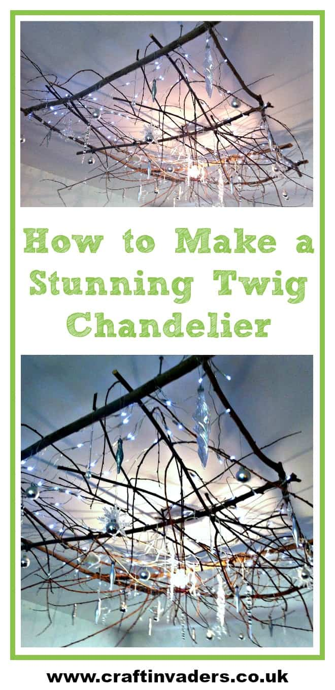 Our Twig Chandelier makes a beautiful ceiling Christmas Decoration. Check out our video to see exactly how we made it!