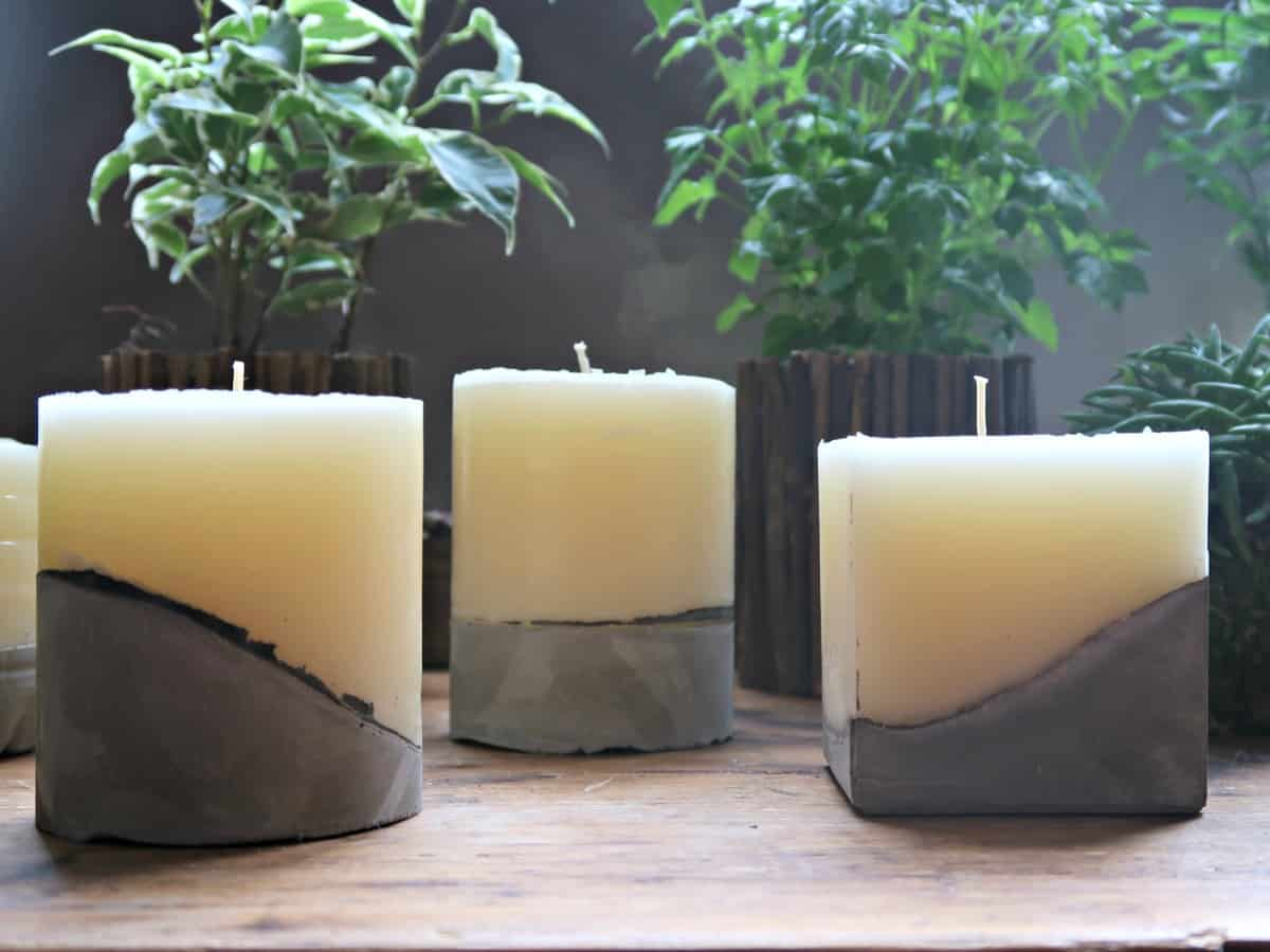 These concrete candles are made using part used pillar candles and homemade moulds. They are a great way of trying out candle making without spending a load of money on equipment.