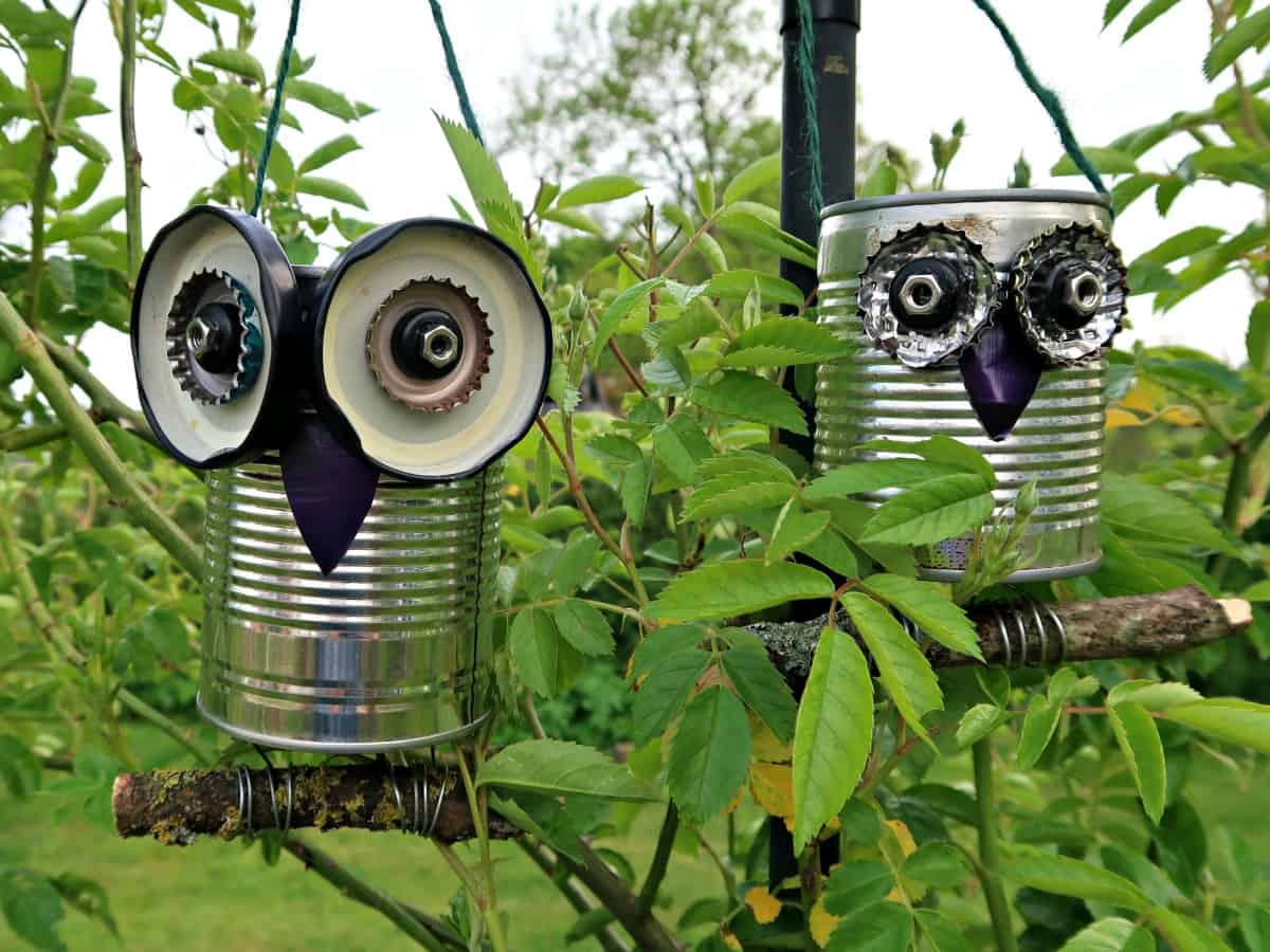 We turn metal trash into cute tin can owls that can be hung in your garden or used as cute windowsill planters in this easy to follow tutorial.