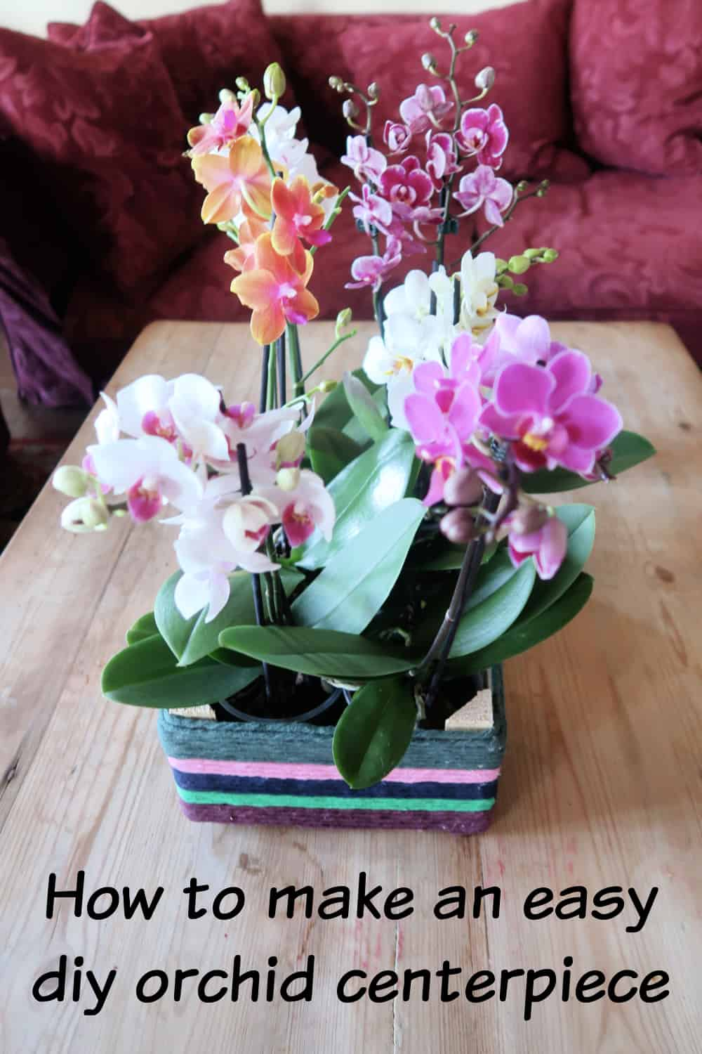 In the simple tutorial, I show you how to upcycle an old fruit crate into a DIY orchid centerpiece to swap your moth orchid plants in and out of it as they flower and for maintenance such as watering.
